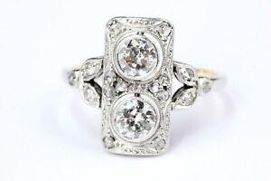 Art Deco Ring Diamant 585 Gold 2 Brillanten ca. 1,00 ct. H 16 Rosen ca 0,16 ct.