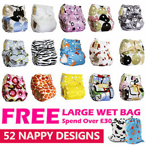 Reusable-Real-Cloth-Pocket-Nappy-Cover-Wrap-microfiber-or-bamboo-inserts-0-3ys