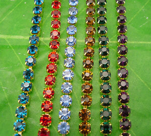 ss16 lot color 4mm glass rhinestone compact close golden chain trims 1M-6.3M