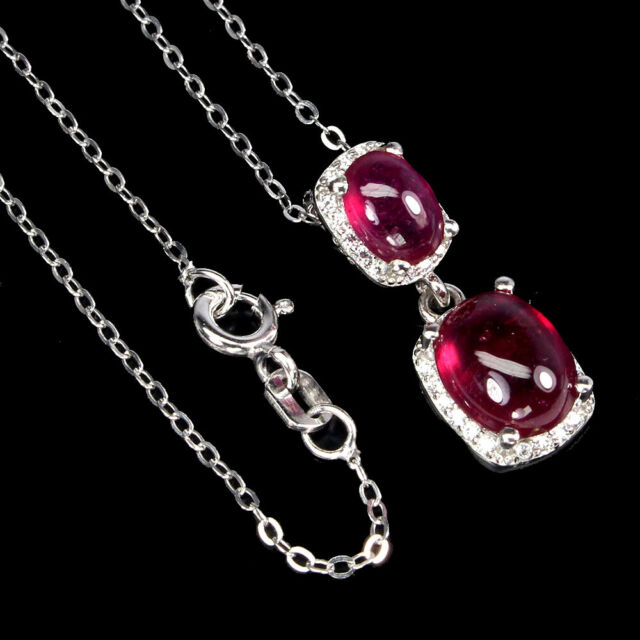 Oval Red Ruby 9x7mm Cz 14K White Gold Plate 925 Sterling Silver Necklace 18 Inch