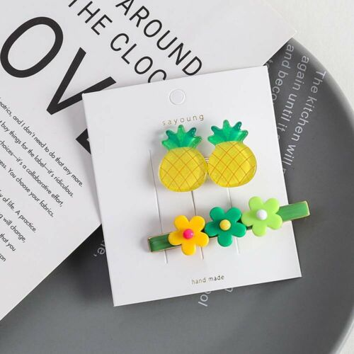 2Pcs//Set Sweet Women Fruit Colorful Flower BB Hair Clip Hair Hairpin Accessories