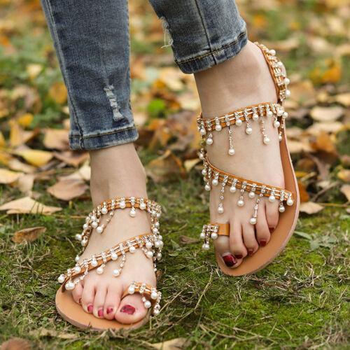 Womens Boho Pearl Sandals Gladiator Summer Beach Flip Flops Flat Shoes Size UK
