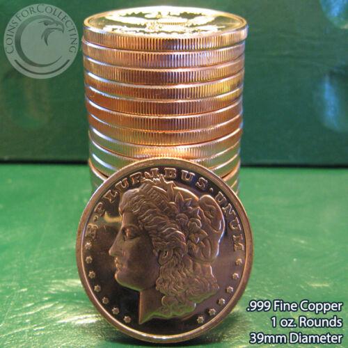 20 Morgan Dollar 1oz .999 Copper 20 Beautiful Rounds 1 Roll Tube
