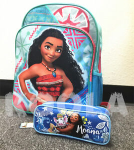 "Disney Moana Large Backpack 16/"" school backpack With pencil case Free shipping"