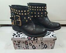 Kurt Geiger Bryony Black Biker Style Boots faux leather 40 size 7 ankle flat KG