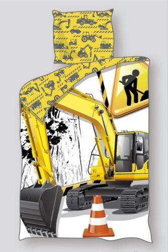 80x80 cm NEU OVP Baustelle Bagger Öko Tex Jungen-Linon-Bettwäsche 135x200