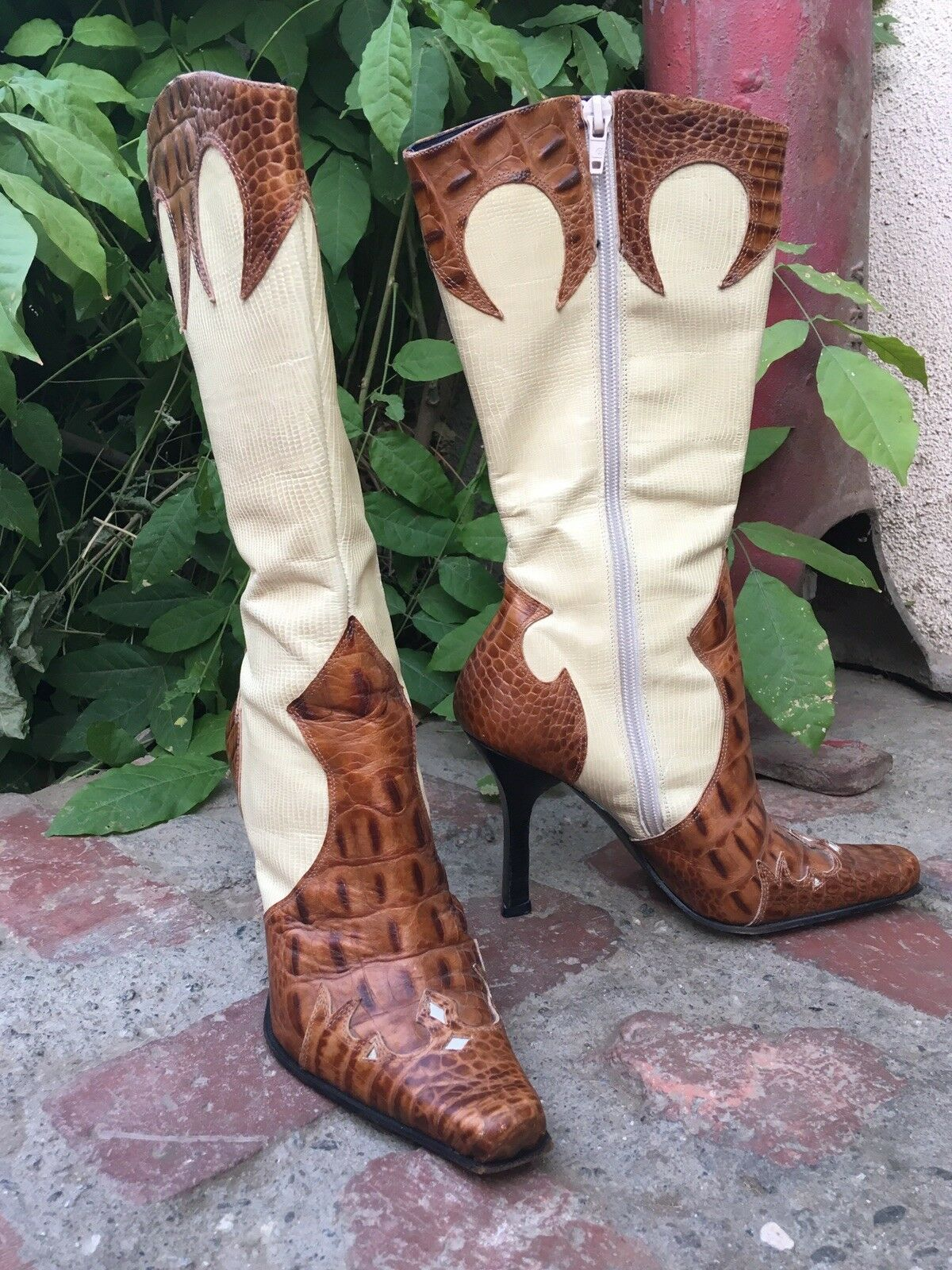 Bebe Exotic Skin Inlaid High Heel Cowgirl Boots Bling Bling Bling Rodeo Queen d94c05