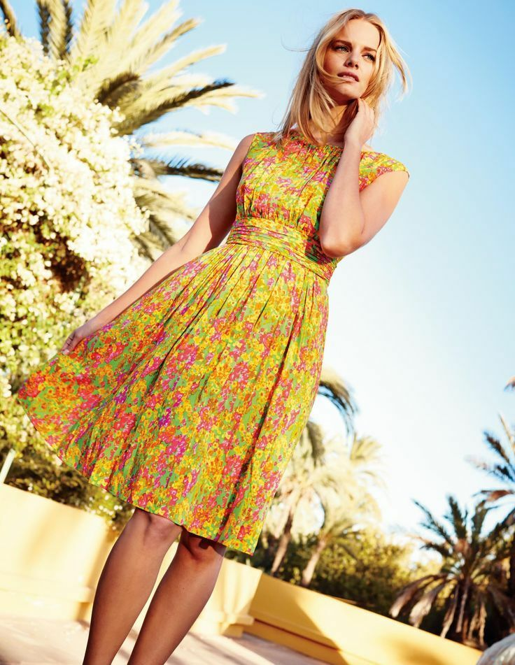 NWT Boden Yellow Green Selina Floral Dress Size US 10 L