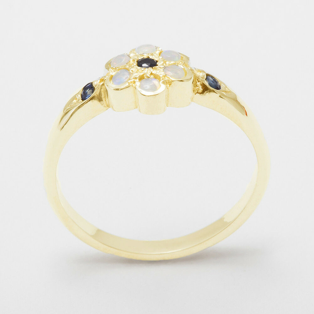 14ct Yellow gold Natural Sapphire & Opal Womens Cluster Ring - Sizes J to Z