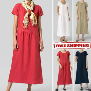Fashion-Womens-Solid-Short-Sleeve-Linen-Pockets-Ruched-Casual-Loose-Maxi-Dress