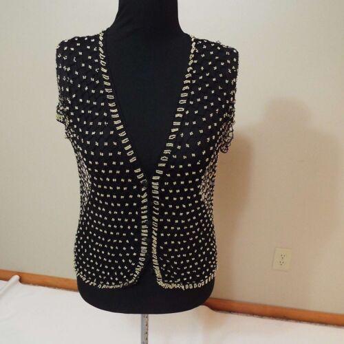 Black /& gold Beads beaded shirt cardigan size M-L free shipping