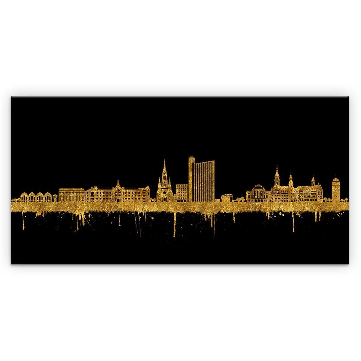 Panorama Wandbild von Chemnitz Skyline Gold Kunstdruck Leinwand (div.Größen)