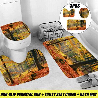 3Pcs Stone Bathroom Non-Slip Soft Bath Pedestal Rug Toilet Lid Cover Seat Set