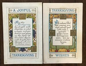 Lot-of-2-Antique-Arts-amp-Crafts-Thanksgiving-Postcards-Poems-Leaves-Fruit-a-25