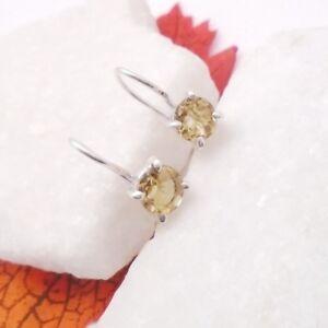 Citrin-rund-gelb-schlicht-Design-Ohrringe-Ohrhaenger-925-Sterling-Silber-neu