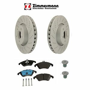 For Mercedes W204 W207 ZIMMERMANN Set of 2 Front Disc Brake Rotor Cross-Drilled