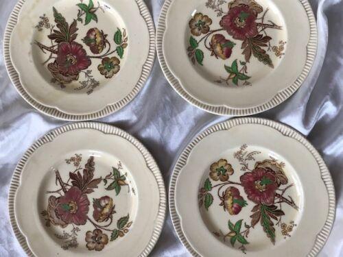 4-Rare-Vintage-Original-Clarice-Cliff-Round-Floral-Art-Deco-Small-Tea-Plates