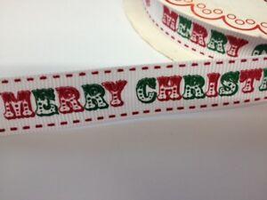 2 Mètres Joyeux Noël Gros-grain Ruban Fabrication Carte Craft Embellissement-afficher Le Titre D'origine