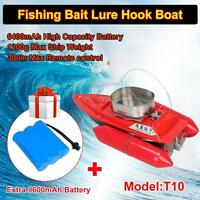 Red T10 Bait Hook Rc Boat Carp Fishing 300m Remote Control+free 9600mah Battery