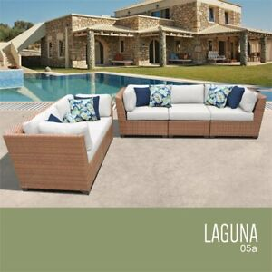 Astonishing Details About Tk Classic Laguna 5 Piece Wicker Patio Sofa Set In White Beatyapartments Chair Design Images Beatyapartmentscom