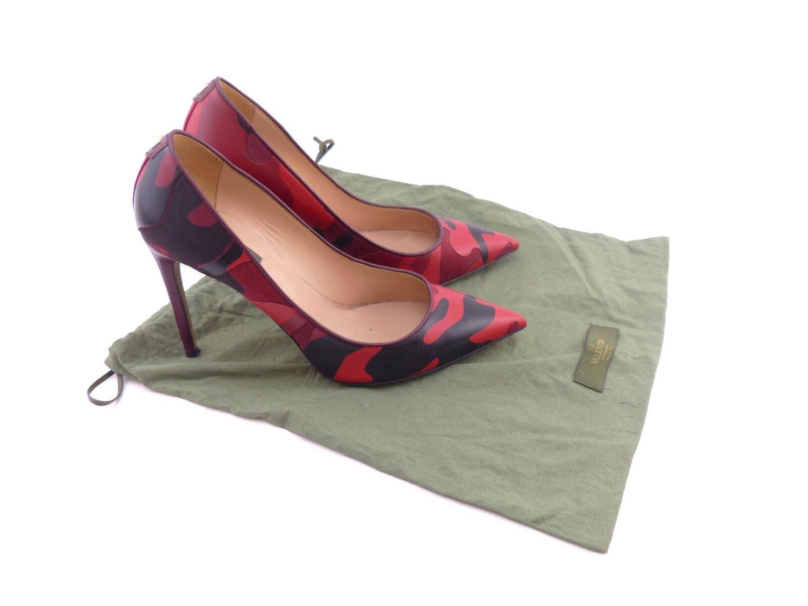 Valentino Valentino Valentino rouge & Noir Camouflage-Imprimé en cuir  uk 6.5 EU 39.5 US 9.5 a73bd8