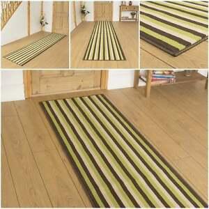 breit 6 gr n braun gestreift l ufer teppich flur teppich halle extra lang. Black Bedroom Furniture Sets. Home Design Ideas