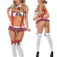 Women School Girl Costume Sexy Lingerie Uniform Halloween Cosplay Party Dress