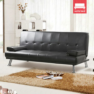 New Italian Style 3 Seater Faux Leather Sofa Bed With