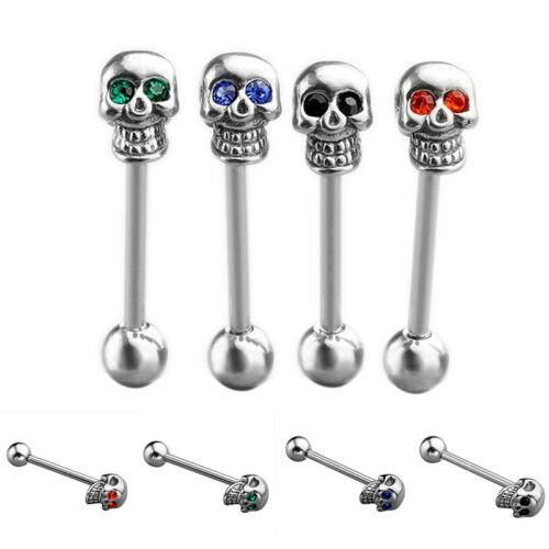 Prevalent Stainless Steel Skull Silvery Tongue Barbell Ring Bar Body Piercing CN