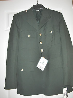 "Romantic Nwt Dscp""uniart Corp""army Green 4 Military Gold Buttons Blazer Jacket Size 40 R Easy To Use Suits & Suit Separates Men's Clothing"