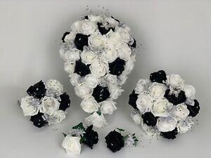 Bouquet Sposa Nero.Bouquet Sposa Nero Avorio Rose Bouquet Sposa Damigella Asole Bacchetta Ebay