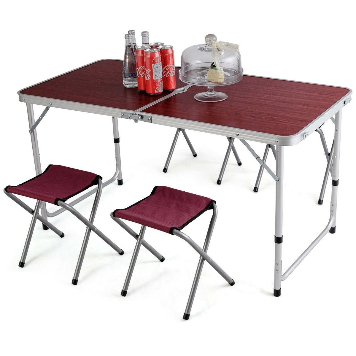 Aluminum Folding Camping Table with 4 Chairs Stools For Camping BBQ Picnic Beach