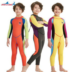 Kids 2.5mm Neoprene Long Sleeve One Piece Wetsuits Diving Thermal ... a3143313b