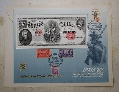 P 1989 B Pioneer Family B126 S 1907 $5.00 U Souvenir Card E Note