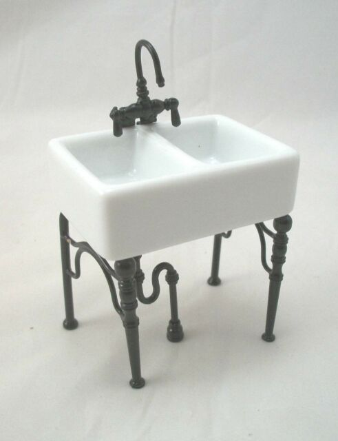 Kitchen Sink Small -  1.742/4 dollhouse miniature furniture porcelain 1/12 scale