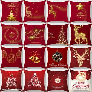 Christmas-Pillow-Case-Glitter-Polytster-Sofa-Throw-Cushion-Cover-Home-Decor