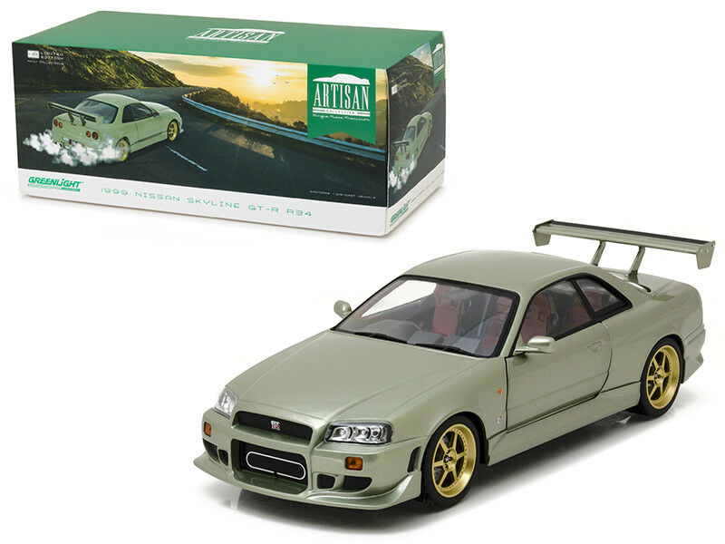 1   18 Grünlight 1999 nissan skyline gt - r 34 ein diecast modell auto grün 19033