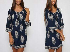 Vintage-fall-Women-039-s-Floral-Printed-Ethnic-Loose-Long-Tops-Mini-Shirt-Sun-Dress