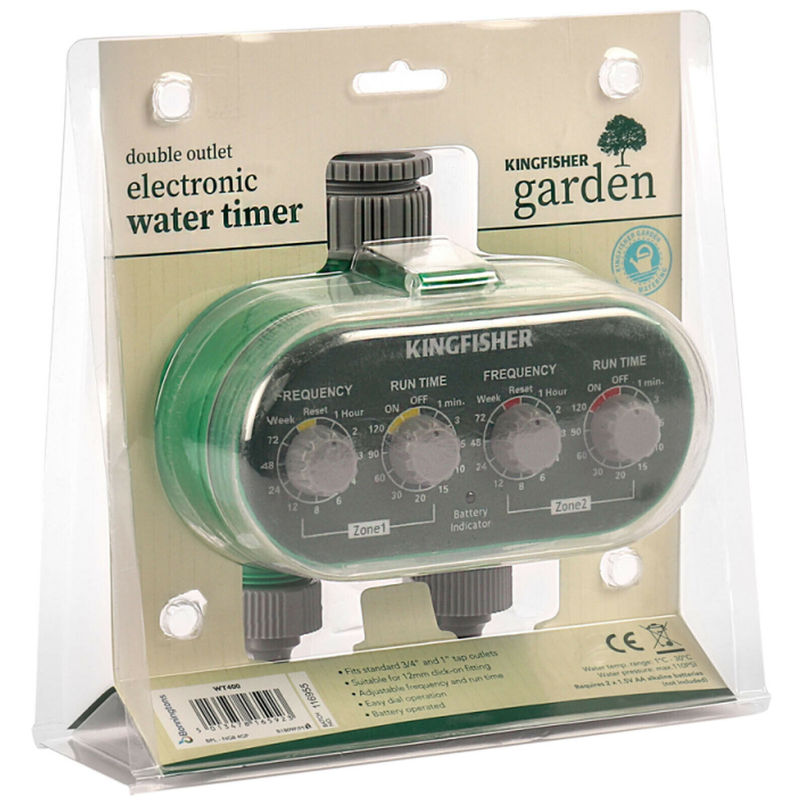 Kingfisher Dual Water Timers Electric Automatic Watering System Watering Clock