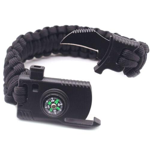 1pc 5 In 1 Multifunction Outdoor Survival Gear Escape Paracord Bracelet Flint/&Wh