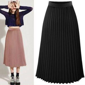 Sexy-Women-Long-Midi-Pleated-Skirt-Elastic-Waist-Double-Layer-Chiffon-Skirt-New