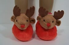 "RED Rudolf REINDEER Deer Doll Slippers House-Shoes For 18"" American Girl (Debs)"