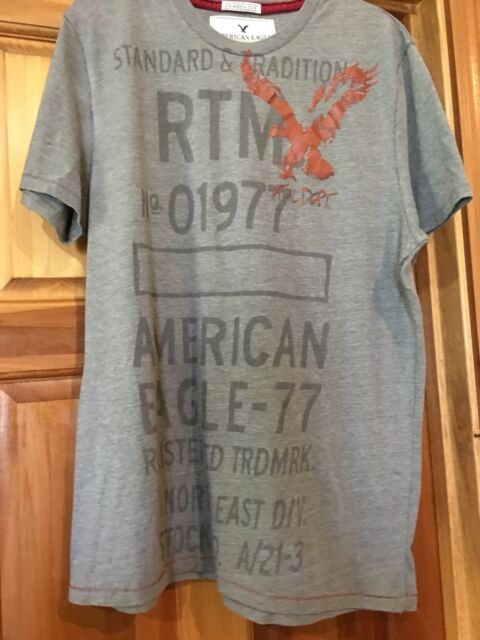 8f2bb743d7 American Eagle Outfitters Mens Classic Fit Graphic T-shirt Gray Size Large