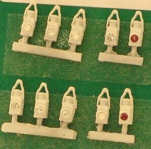 Br tête & queue lampes blanc (10) - Springside DA19/10 - OO JAUGE - NOUVEAU