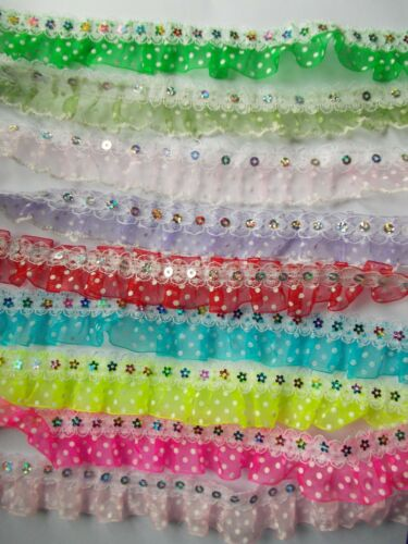 Pleat Gathered Polka Dot Organza Ribbon with//without Sequins Lace-choose colour