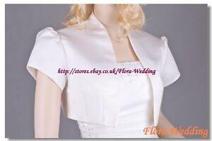 Satin-Bridal-Wedding-Shrug-Bolero-Jacket-Capelet-Occasion-Cover-up-Code-1128