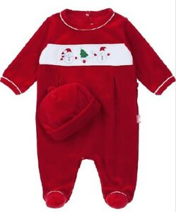 NEW-Le-Top-Holiday-Baby-Christmas-Velour-Footed-Red-Coverall-amp-Cap-Size-NB-NWT