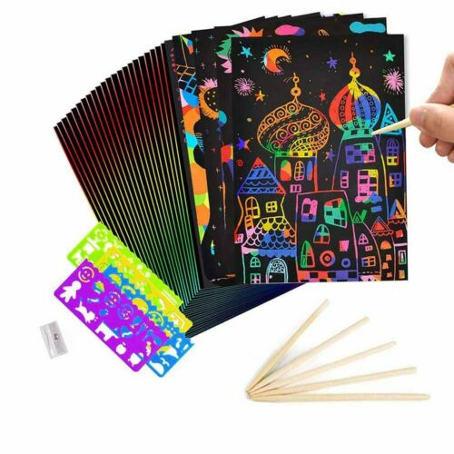 50 Papiere Magic Scratch Art Paper für Kinder Child Notes Party Card Boards