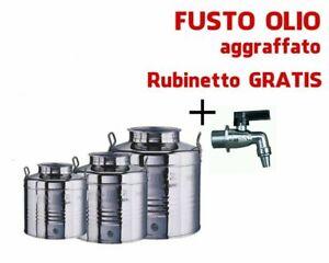 CONTENITORE-BIDONE-FUSTO-PER-OLIO-IN-ACCIAIO-INOX-1-2-5-15-30-50-100-LITRI-MADE