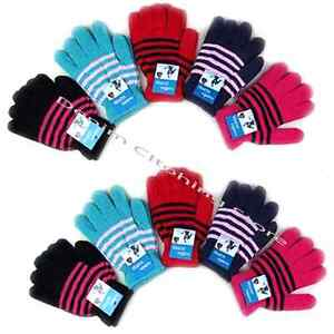 WHOLESALE LOT WOMEN STRIPED WARMERS WINTER WARM KNITTED GLOVES SNOW Xmas Gift